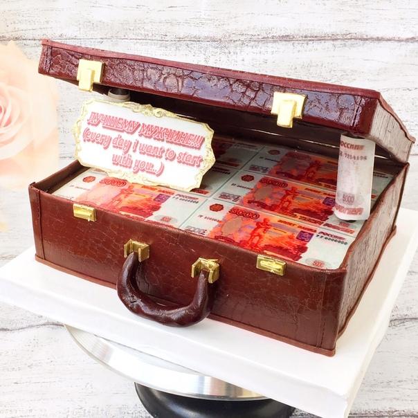 Торты чемодан с деньгами открытый фото