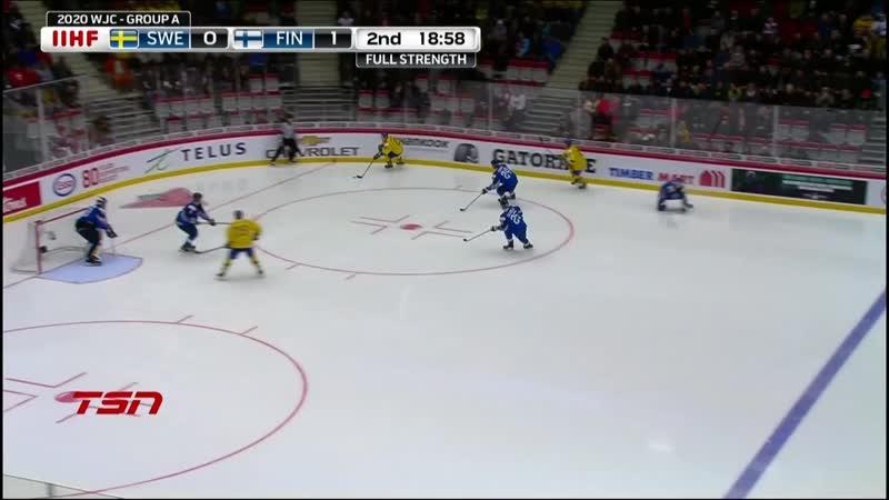 Гол Нильса Хегландера в ворота сборной Финляндии.