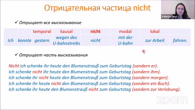 Положение отрицательной частицы nicht
