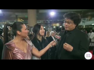 [video] bong joon ho, director of parasite, talks about bts at the golden globes.