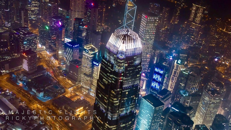 Hong Kong China Night Drone Hyperlapse Timelapse in 4K©