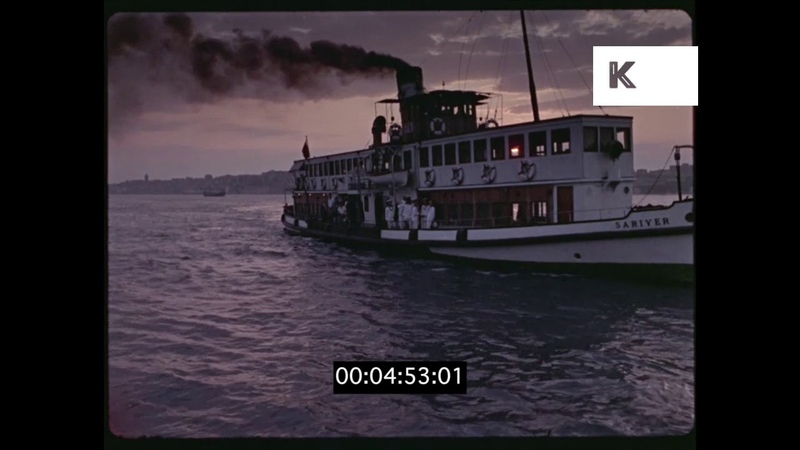 Ferry Docking at Sunset, 1960s, 1970s, HD
