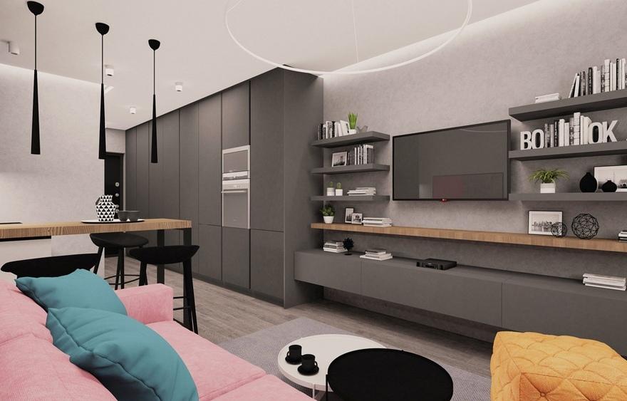Проект прямоугольной квартиры-студии почти 26 м.