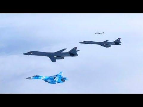 Сопровождения B 1B Lancer парами истребителей Су 27 и МиГ 29 украинских Воздушных Сил ВСУ 29 05 2020