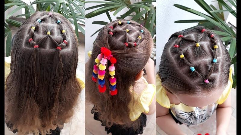 Penteado Infantil com ligas em forma de coração para cabelo solto ou com amarração