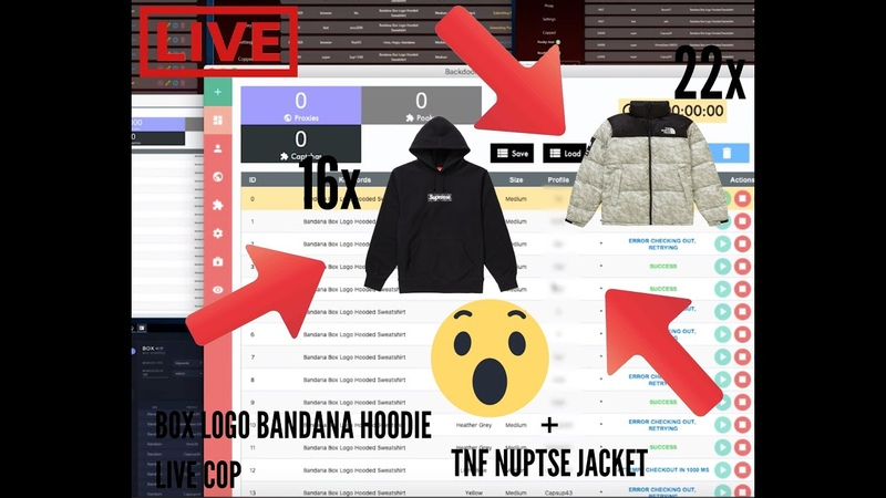 Supreme Bandana Box Logo Hoodie and The North Face Paper Nuptse Live Cop W Cybersole F3ather Sieu