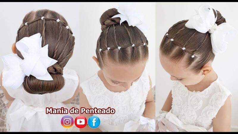 Penteado Fácil com Coque e Tranças de Duas Pontas Easy Bun Hairstyle with Rubber Band for Girls