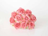000019 Кудрявые розы 3 см коралловые  1 шт - 12 руб  диаметр 3 см высота 2 см длина стебля 8 см