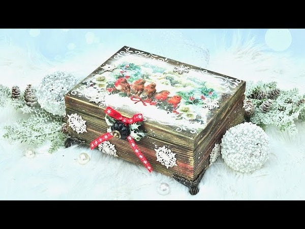 Decoupage skrzynka świąteczna postarzana opalaniem drewna DIY tutorial