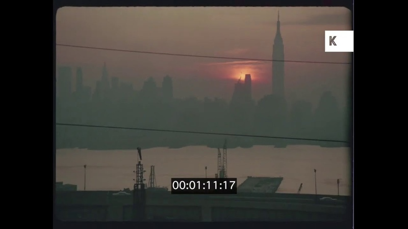 1960s, 1970s NYC Harbour At Sunset, Empire State Building, 35mm