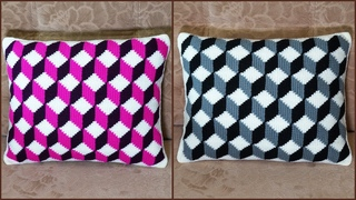 Подушка тунисским крючком с 3Д узором. Часть 2. Crochet pillow with 3D pattern. Part 2