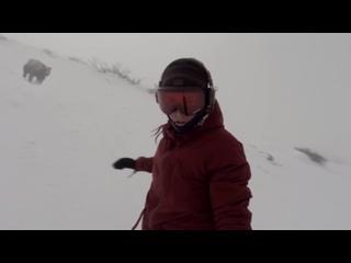 Сноубордистка случайно сняла на видео, как за ней гонится огромный медведь!