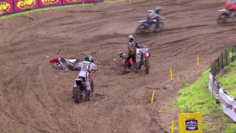 Southwick 250 Moto 1 Mike McDade Pulls Wil Hahns Bike Off Him
