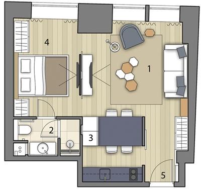 Интерьер квартиры 41 м в Москве.