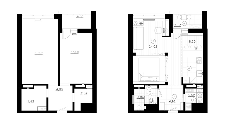 Перепланировка 1-комнатной квартиры в студию 44 кв.
