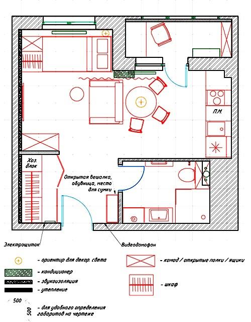 Проект квартиры 30 м для женщины.