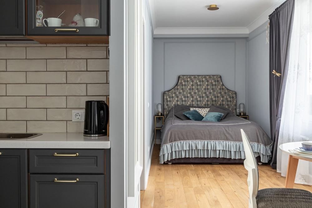 Интерьер квартиры-студии сложной планировки 37 кв.