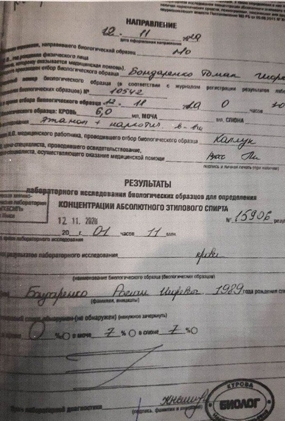 Мама Романа Бондаренко передала копию лабораторного анализа ее сына Этилового спирта в крови нет в документе указано значение 0%. Журналистку TUT.BY вывезли из дома силовики в штатском. Катерина