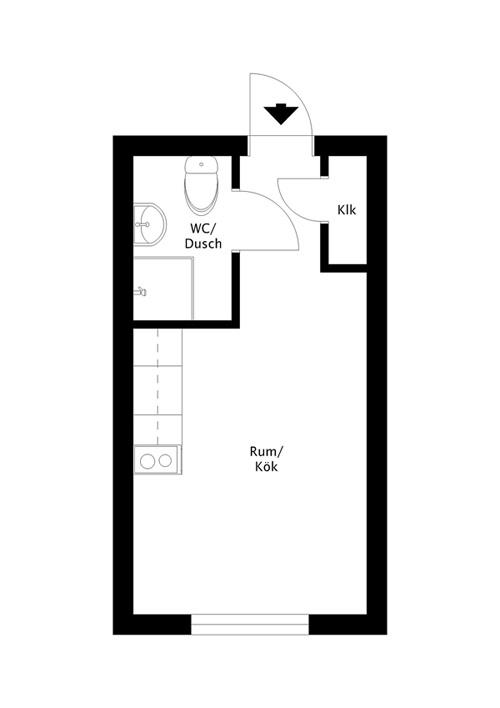 Интерьер маленькой скандинавской квартиры-студии 16 кв.