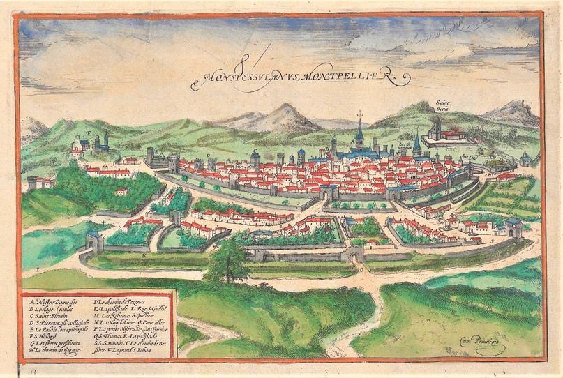 Монпелье около 1570 года. Гравюра из атласа Civitates Orbis Terrarum