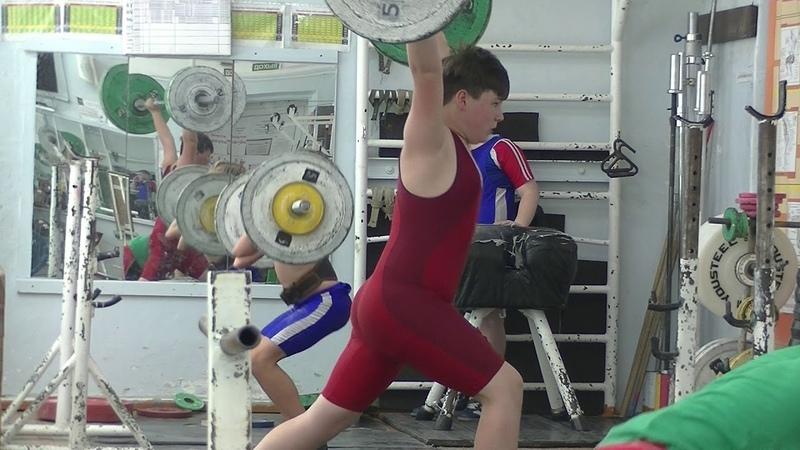 Треировка Толчок из седа Мирсков 28 кг и Пряничников 50 кг