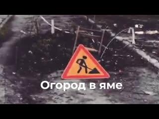 В Ульяновске в яме на дороге посадили помидоры