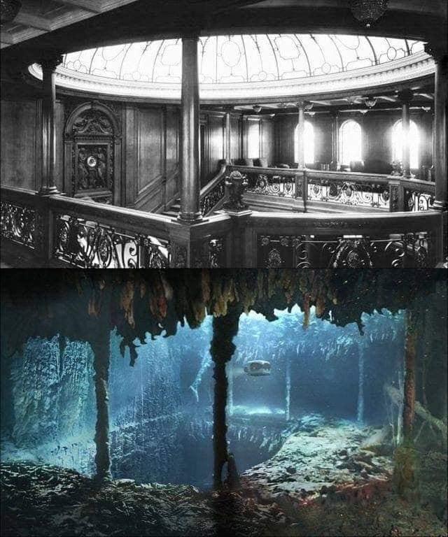 Фотография главной лестницы на Титанике до того, как он затонул, и более 100 лет спустя