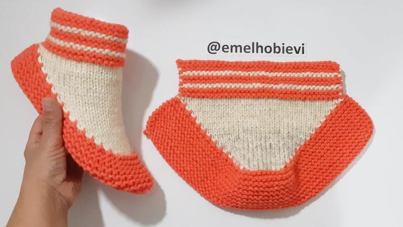 20 Dakikada Yeni Bir Model Evbotu Örüyoruz Handmade Knitting Booties