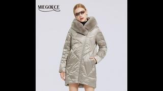 Miegofce 2021 зима новое женское хлопковое пальто со стильным меховым воротником из рекс кролика пиджак женский зимнее