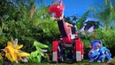 Dinosaurs robots transformers. Cartoon about dinosaur transforming. Dinos Switch Go