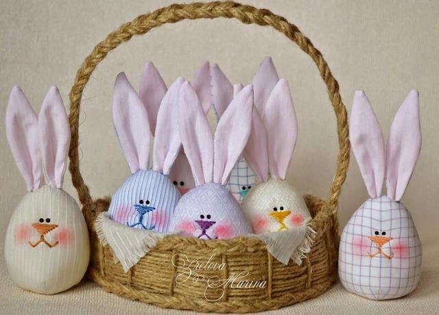 Пасхальные зайчики или яйца с ушками из ткани